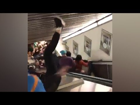 Escalator Speeds Out Of Control At Rome Metro Station