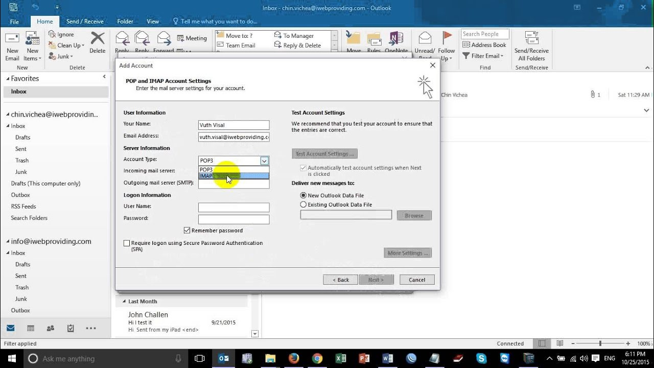 how to add email to outlook 2016