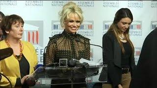 باميلا آندرسون تثير الفوضى في البرلمان الفرنسي بخطابٍ عن