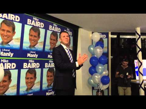 Mike Baird speaking to his Manly supporters