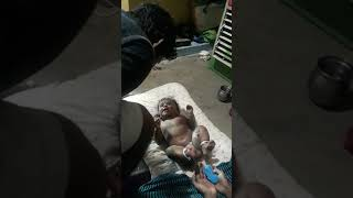 cute baby talking to daddy