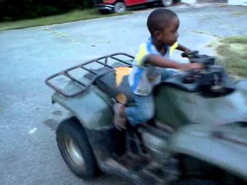My 4 Yo Son On A 2005 Honda Recon 250