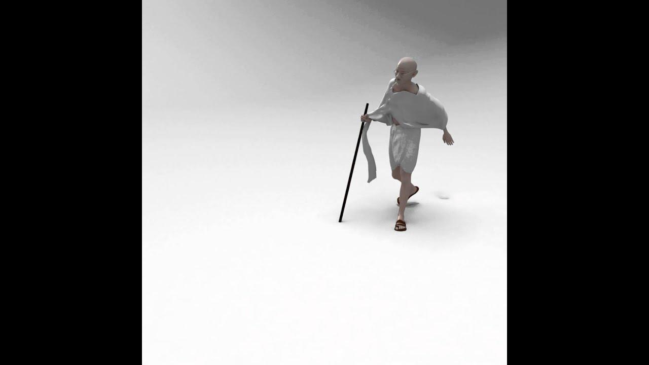 Animated Mahatma Gandhi Dandi Yatra March Salt Satyagraha
