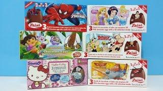 Unboxing Surprise Eggs Zaini Spiderman Disney Princesss Hello Kitty Disney Planes Fire & Rescue Thumbnail