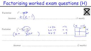 Factorising GCSE Maths revision Higher level worked exam qu (quadratics and diff of two squares)