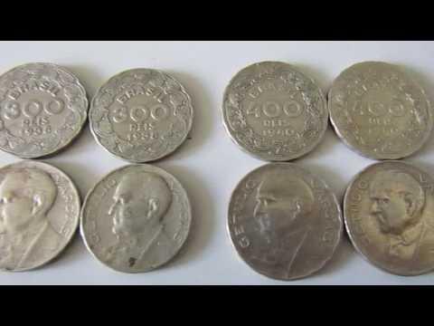 Valor das moedas de 100 , 200 , 300  e  400 réis de 1938 do Getulio Vargas