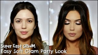 GRWM Christmas Party | Soft Pink Glam Hair & Makeup | Super Fast Tutorial