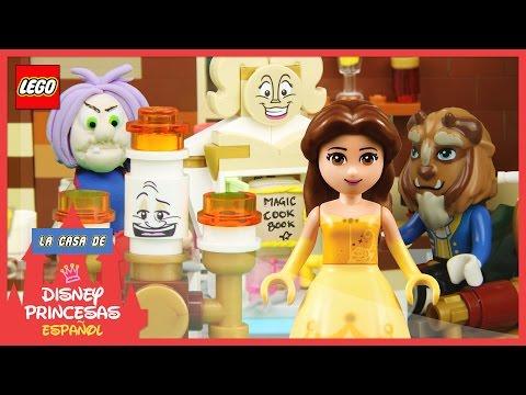 ♥-lego-disney-princess-belle-&-el-libro-de-cocina-mágico-en-español-(dibujos-animados-para-niños)
