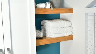 Easy wall mounted shelves with hidden support.
