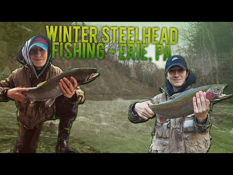 Winter Steelhead Fishing - Erie, PA (4K)