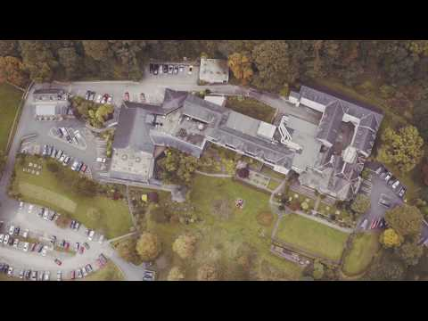 Drone footage of the grounds and hotel.
