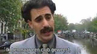 Borat walks in Amsterdam