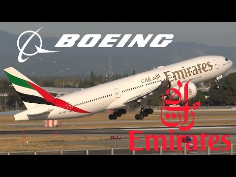 HD RARE Emirates Boeing 777-21H/LR A6-EWF Takeoff form San Jose International Airport