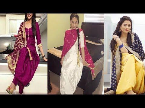Plain Punjabi Suits With Heavy Dupatta  Designs||Plain Punjabi  Salwar Suits  Ideas For Party