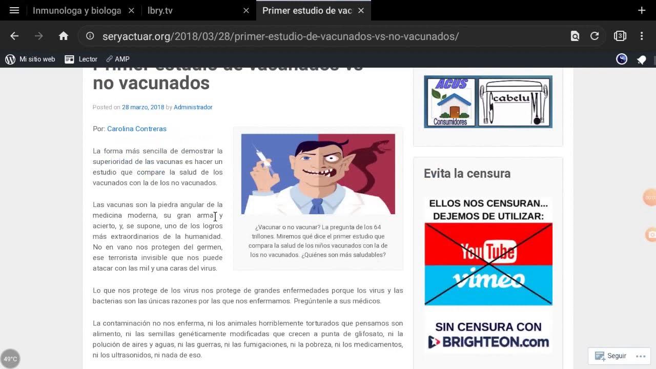 EL ESTUDIO MAS IMPORTANTE Y CENSURADO DE INTERNET SOBRE LAS VACUNAS: VACUNADOS VS NO VACUNADOS