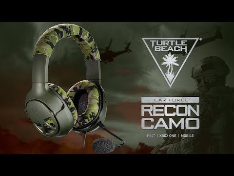 The Turtle Beach Recon Camo multiplatform gaming headset delivers unbeatable game and chat audio through large 50mm over-ear speakers with a WWII era camouflage and military green design to match gamers' passion.