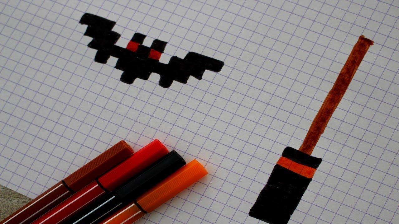 Chauve Souris Et Balai De Sorcière En Pixel Art
