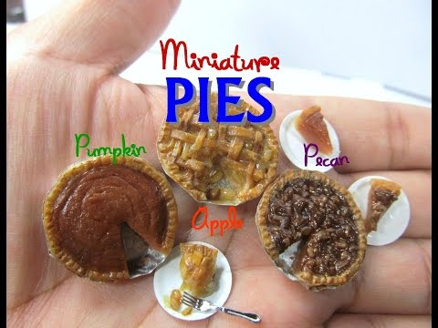 Dollhouse Miniature Holiday Pies Polymer Clay Pecan, Apple, and Pumpkin Tutorial