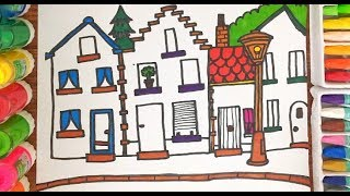 Drawing and Coloring Colourful Town Learn Draw for Kids   Colourful Baby TV