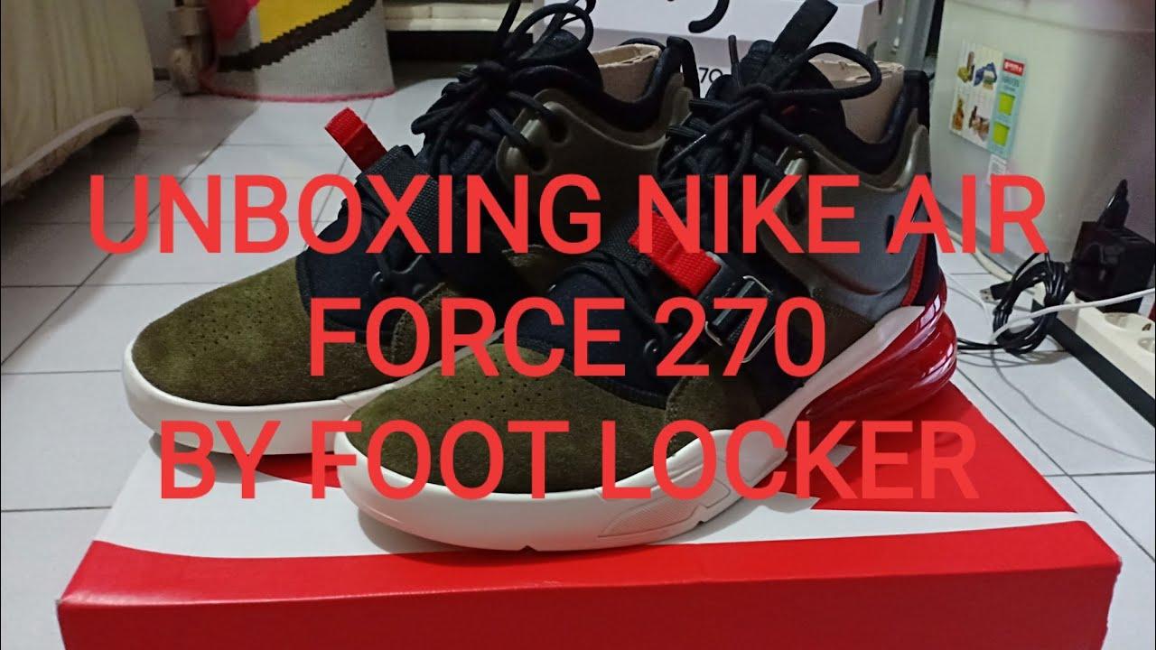 31bcbb76fa42 UNBOXING NIKE AIR FORCE 270 medium olive black by Foot locker - YouTube