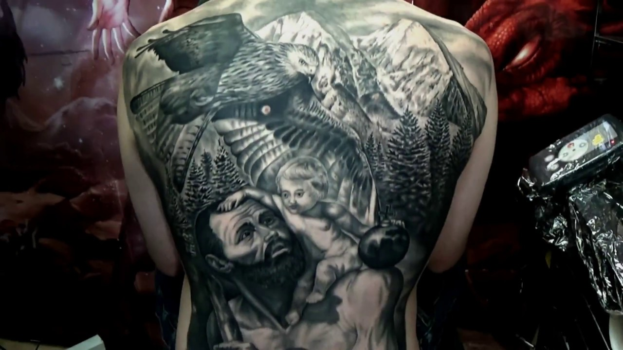 My New Tattoo Realism Black And Grey Back Piece Youtube