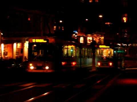 Oslo Sporveier As line 12 trams running down Frogner veien -street