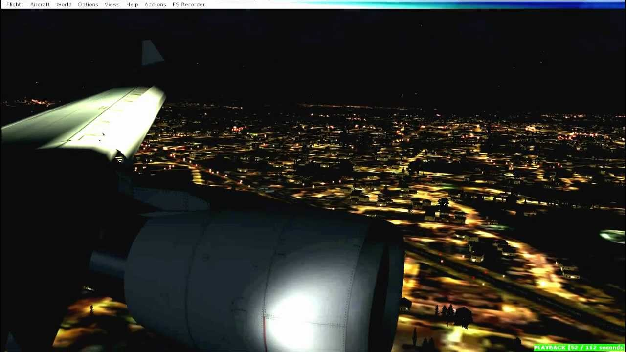 FSX - night landing Schiphol with CLS a330 KLM [2]
