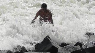 Dangerous sea waves in  Digha.