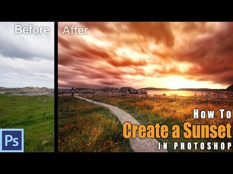 How to CREATE A SUNSET in Photoshop - Example: Northern Ireland | Photoshop Tutorial