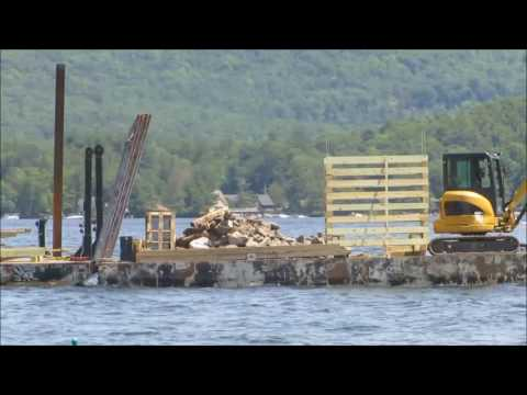 A Lake George Dock Construction Boat