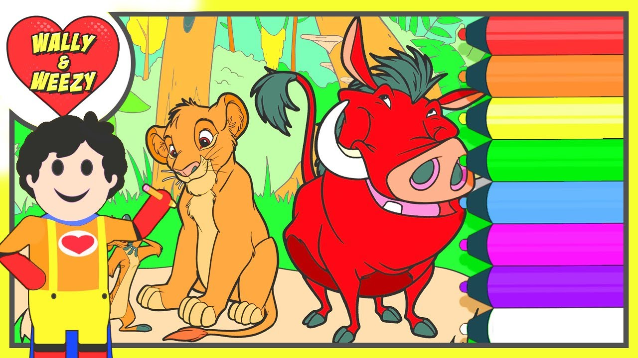Coloring The Lion King Simba & Timon & Pumbaa Original Coloring Page | Wally and Weezy