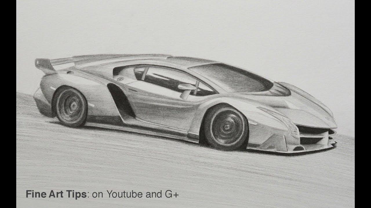 How to Draw a Lamborghini Veneno - YouTube