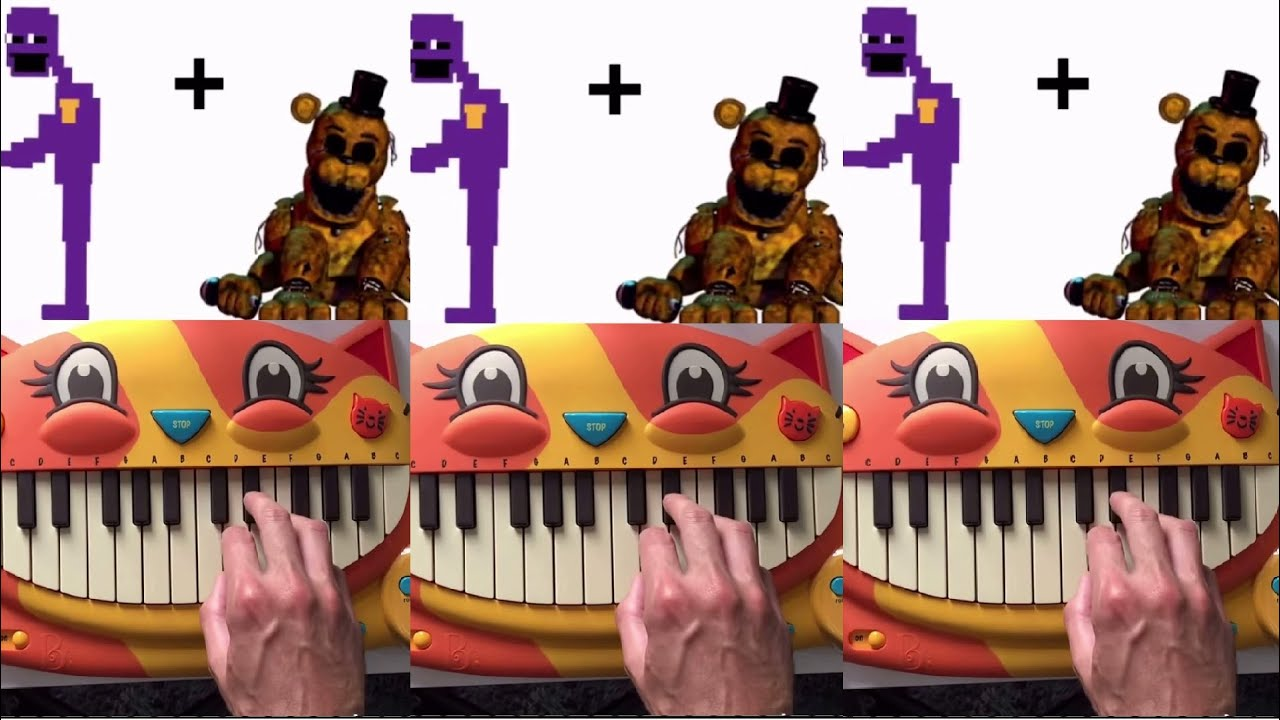 FRIDAY NIGHT FUNKIN VS FNAF MEMES ON A CAT PIANO (Part 4) #Shorts