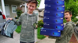 DESTROYING MY LITTLE BROTHER'S PS4 & BUYING HIM 100 NEW ONES...($40,000)
