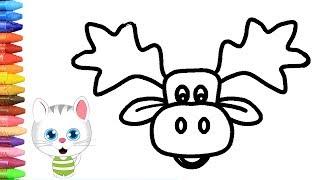 الرسم والتلوين للأطفال   كيفية رسم الرنة مع ميمي   الرسم للأطفال   الأطفال ألوان الفيديو