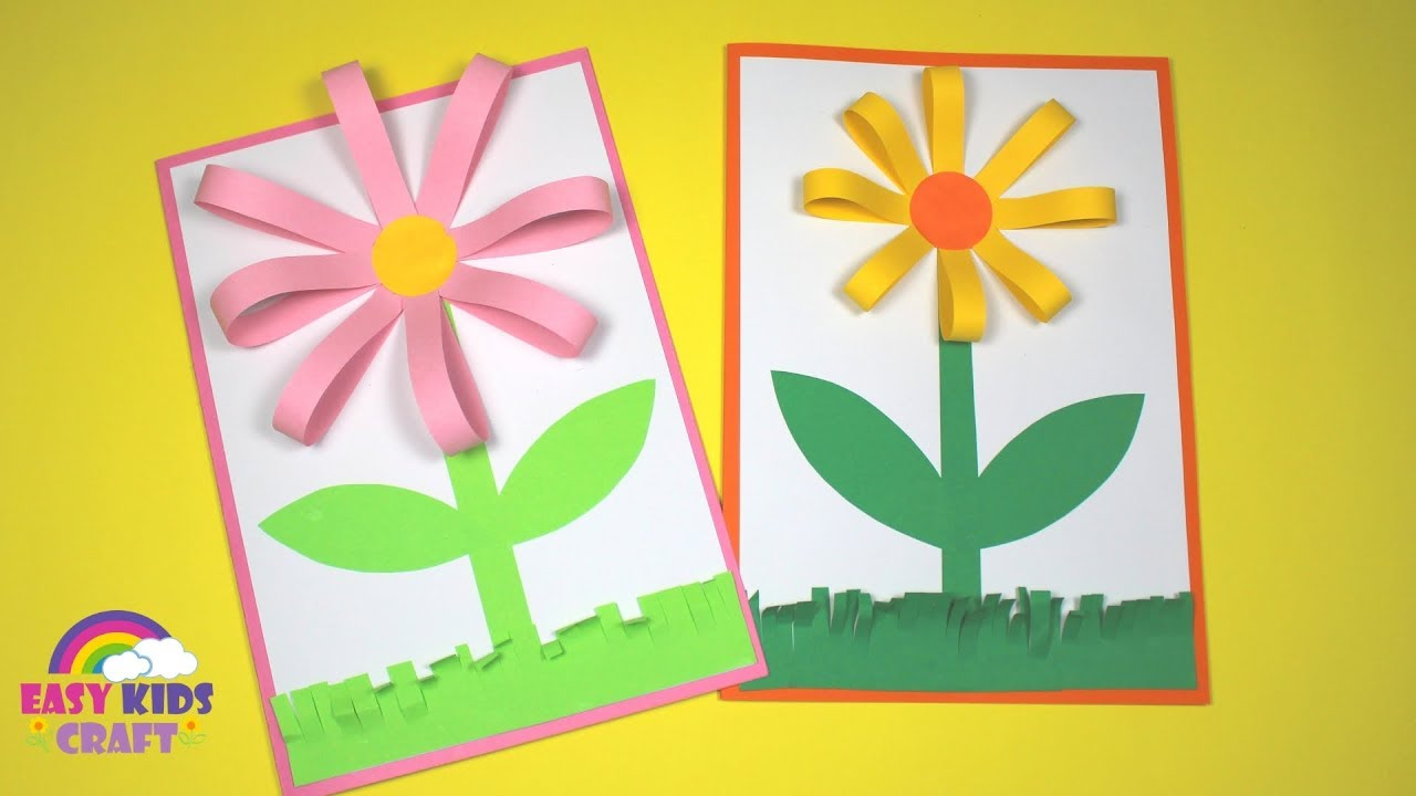 Easy Paper Flower Card Spring Craft For Kids Youtube