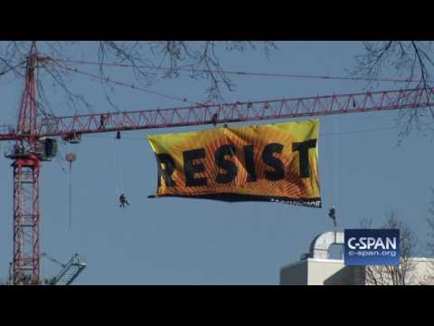 Protest by Greenpeace outside White House (C-SPAN)
