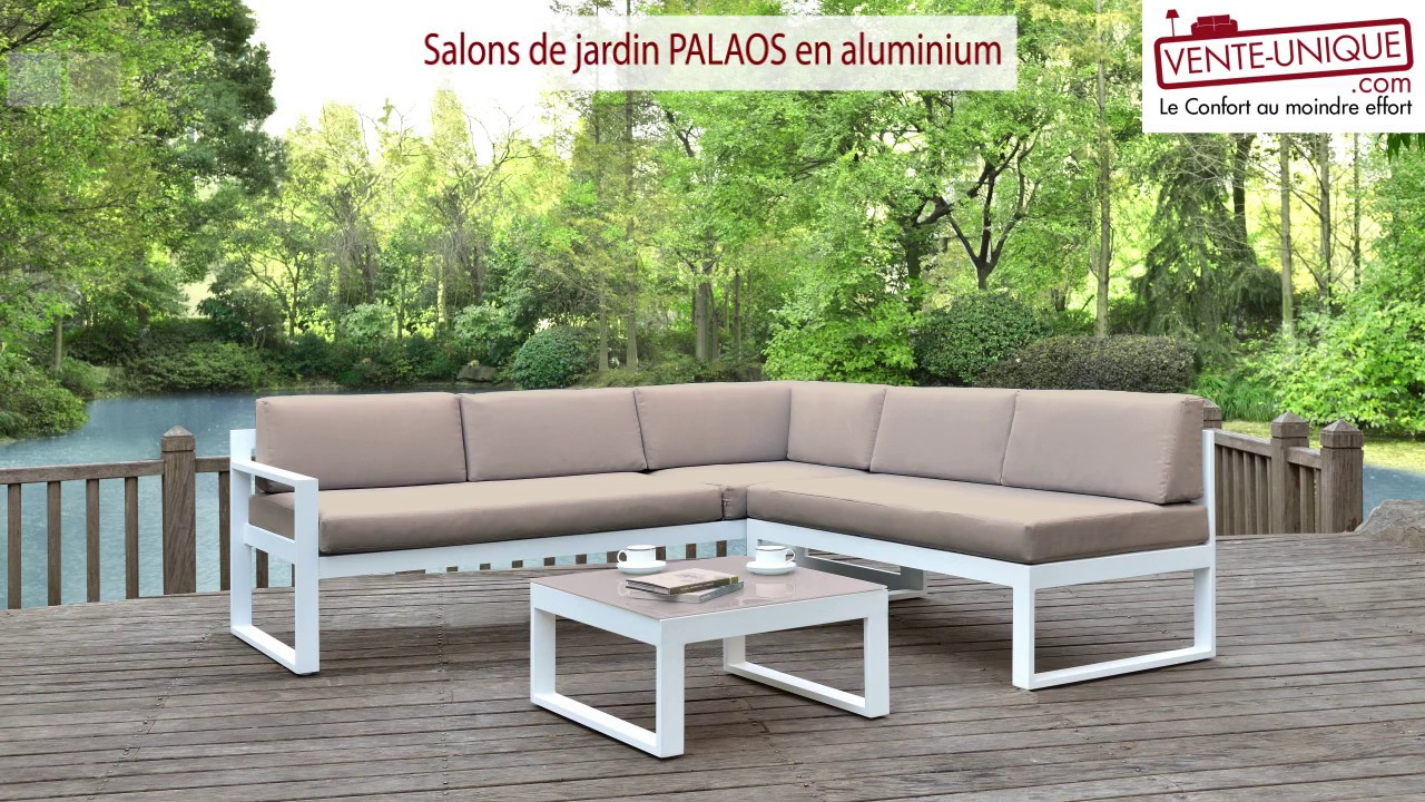 salons de jardin palaos en aluminium gris taupe youtube. Black Bedroom Furniture Sets. Home Design Ideas
