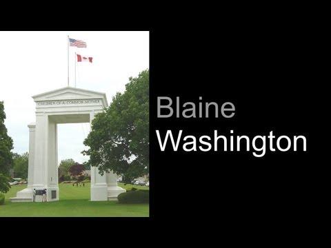 Blaine Washington And Peace Arch Border Crossing Park At US / Canadian Border