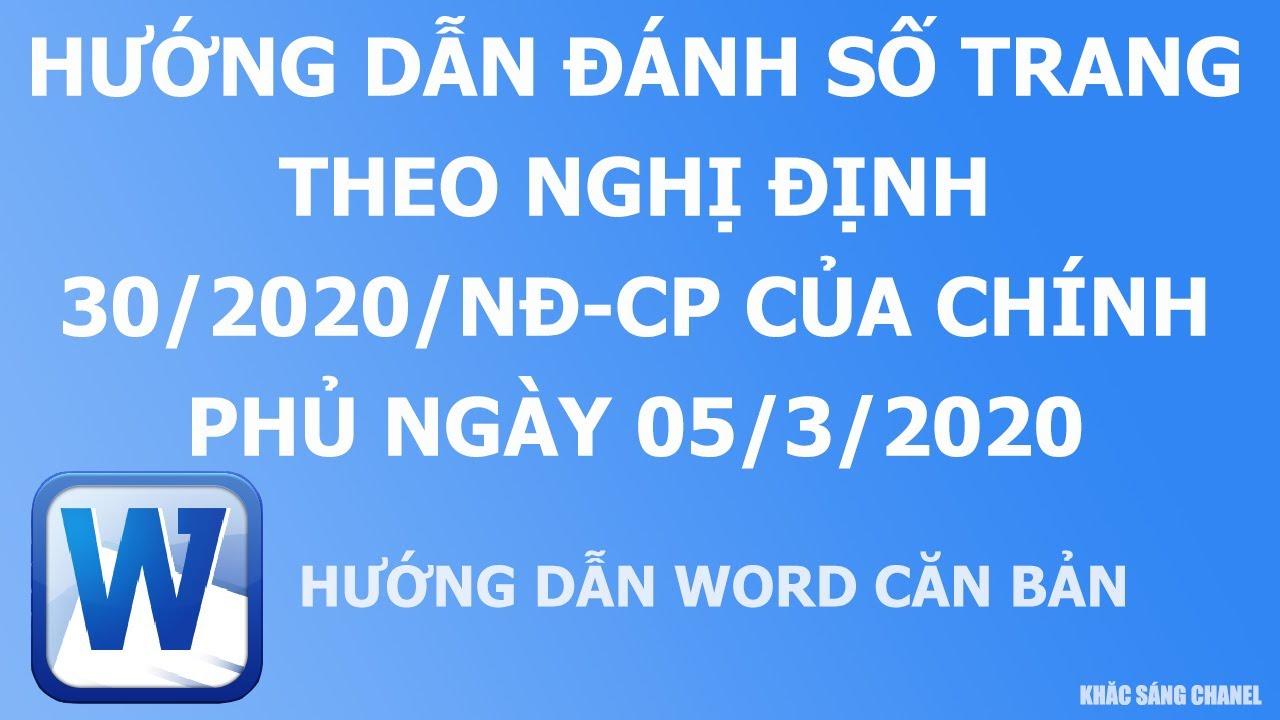 Hướng dẫn đánh số trang theo Nghị định 30.2020 của Chính phủ ngày 05.03.2020