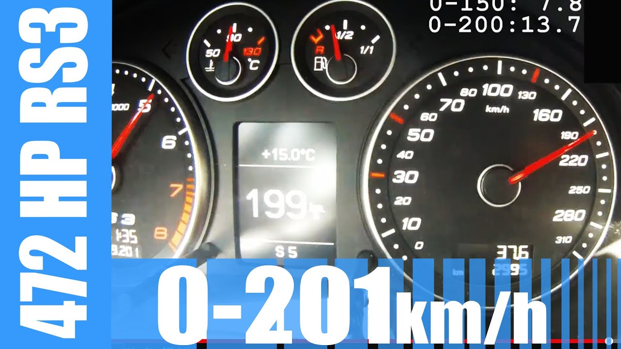 472 HP Audi RS3 2.5 TFSI MTM 0-201 km/h BRUTAL! Launch Control Acceleration
