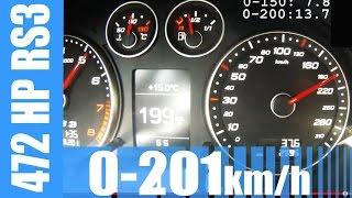 472 hp audi rs3 2 5 tfsi mtm 0 201 km h brutal launch control acceleration