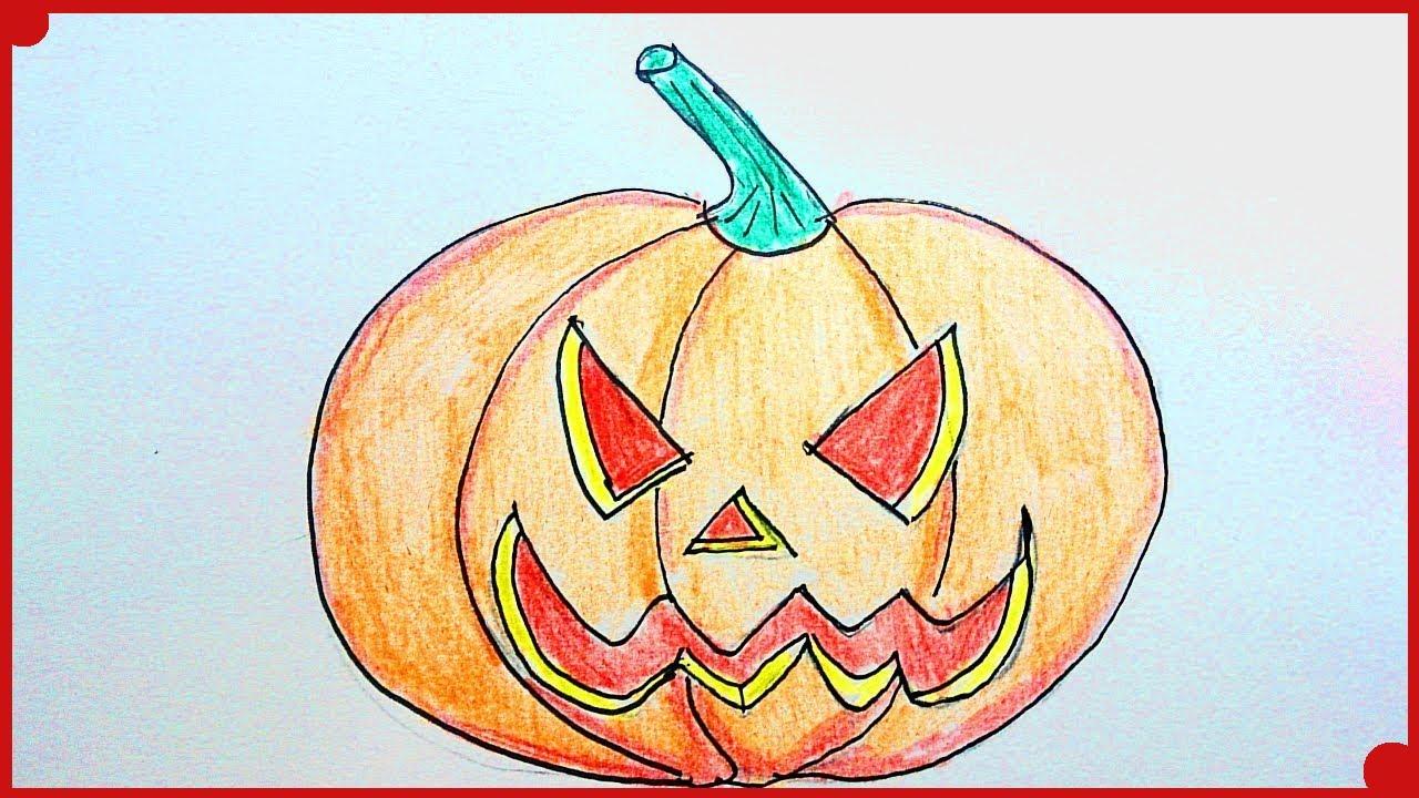 Como dibujar una calabaza de Halloween paso a paso y muy facil