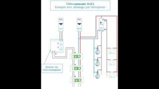 schema electrique de branchement baes  éclairage  par télérupteur