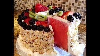 Watermelon Fruit & Almond Cake, No Bake Cake