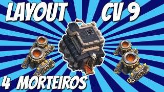 Clash of Clans - Layout CV 9 (Dark Elixir Defense) 4 Morteiros