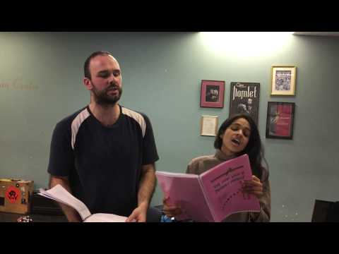 Alex Samaras and Susha in rehearsal for The Man Who Married Himself