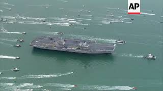 UK's newest aircraft carrier returns to Portsmouth