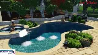 Freeform Pool with Outdoor Shower and Fireplace