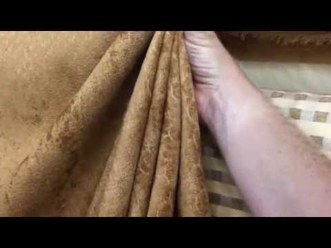 Golden Brown Velvet Microfiber Upholstery Fabric Scallop Detail By The Yard 54""